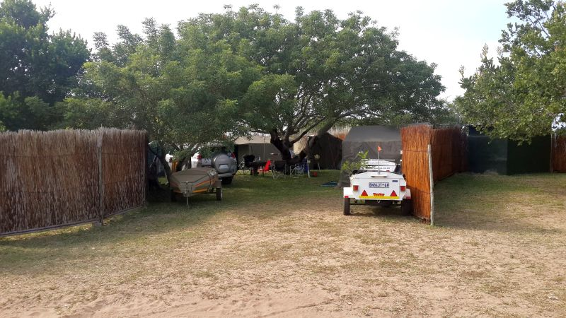 Private, shaded campsite at Utshwayelo Kosi Bay Mouth Lodge & Camp