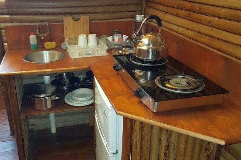 Turtle tent kitchenette, tented camp accommodation, Utshwayelo Lodge, Kosi Bay