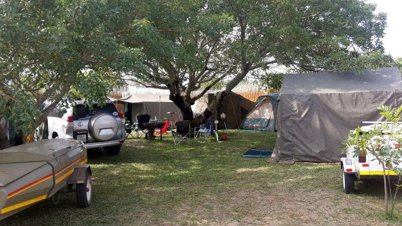 Private, shaded camping accommodation at Kosi Bay Mouth
