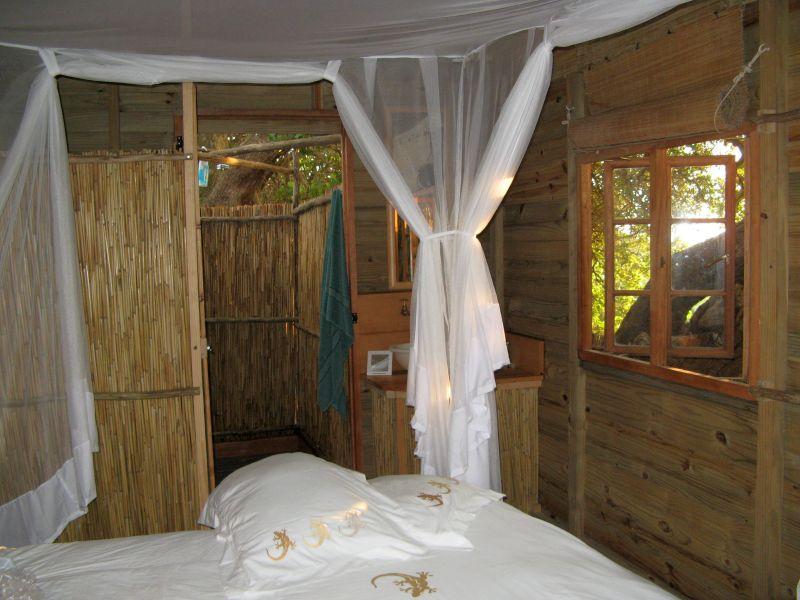 Interior of chalet accommodation, Utshwayelo Lodge & camp